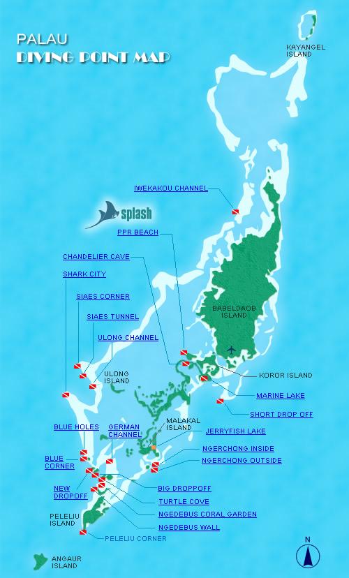 Point Map Splash Palau Dive Center - Palau map